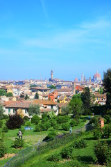 the panorama in Florence from the garden of roses