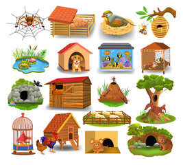 Animal homes like nest, beehive, pond, stable, pigsty aquarium, cave, den isolated on a white background