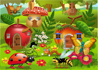 Cartoon illustration of bug world with apple house, peach house, mushroom house and tree house