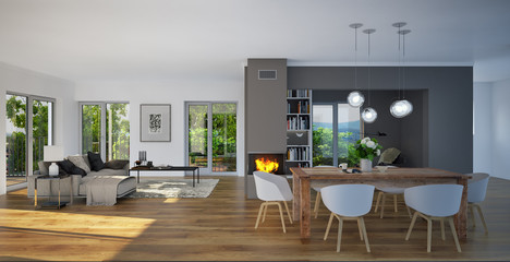 panorama view inside luxury living room - Blick in Luxus Wohnzimmer