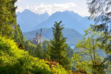 Neuschwanstein castle in the sunlight.