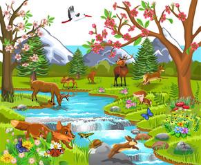 Cartoon illustration of wild animals like deer, fox, rabbit, elk in a spring natural landscape