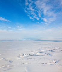 Winter tundra from above