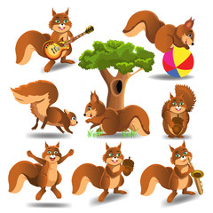 Set of cartoon squirrels doing different activities like playing electric guitar, running, sitting, jumping, playing the saxophone isolated on a white background