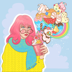 vector beautiful trendy girl with a glass of ice cream, yogurt, fruit smoothie, a fantastic huge great sweet dessert