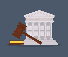 court building symbol and gavel over blue background, colorful design. vector illustration