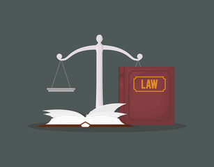 law book and scale over green background, colorful design. vector illustration