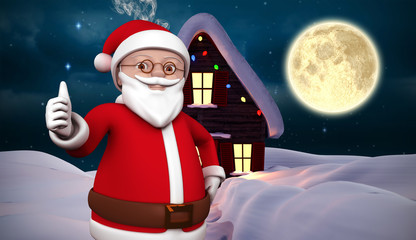 Cute cartoon santa claus against christmas house