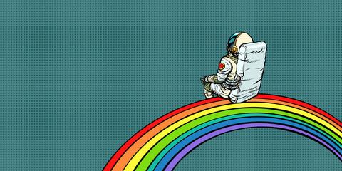 astronaut sits on a rainbow