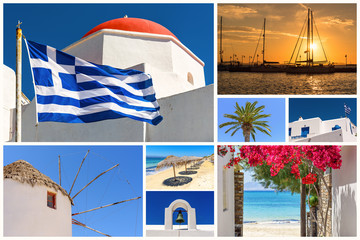 Collage of images from Cyclades islands. Greece