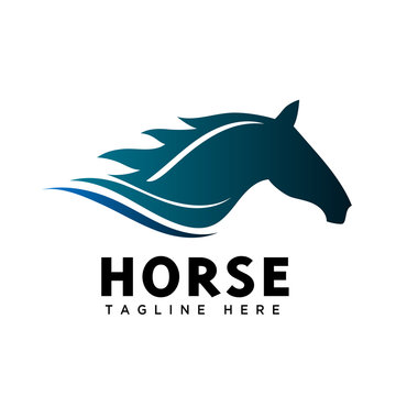 Run fast head horse logo