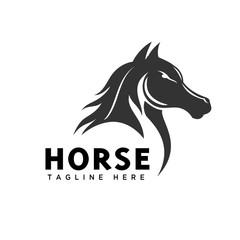 Elegance head horse art logo