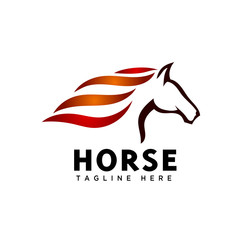Elegance run fast head horse art logo