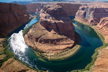 Horseshoe Bend on the Colorado River near Page, Arizona and Grand canyon. Picturesque landscape with great colors in america. vacation with a beautiful view  after touristic road trip. Loop of a river