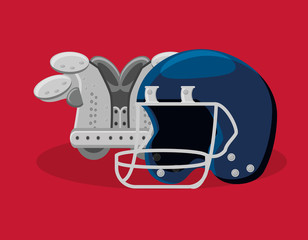 american football design with helmet and Shoulder Pads over red background, colorful design. vector illustration