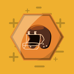 american football design with helmet over yellow background, colorful design. vector illustration