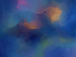 Abstract bright clouds background. Colorful oil painting wallpaper. Creative pattern for graphic design. Fantasy style digital drawing art. Elegant shine fog or smoke artwork.