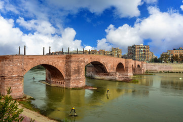 Stone Bridge over Ebro in Zaragoza. Aragon, Spain
