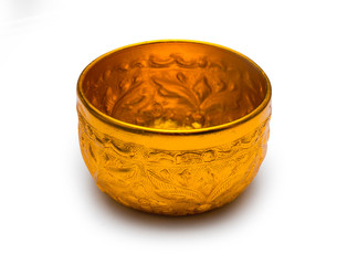 Thai antique style golden bowl for Thai ceremony, isolated on white