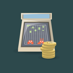 arcade machine and coins over green background, colorful design. vector illustration