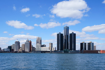 Detroit Renaissance Center during a beautiful day view from Windsor, Ontario, Canada.