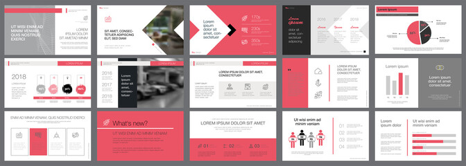 Black and pink marketing or research concept infographics set