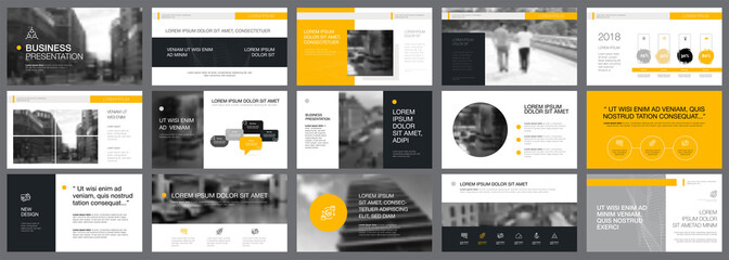 Grey and yellow consulting or planning concept infographics set