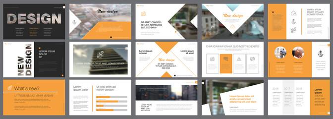 Orange and black logistics or management concept infographic set