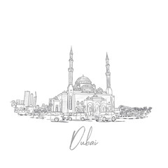 Hand drawn sketch of Dubai Skyline with mosque in vector.