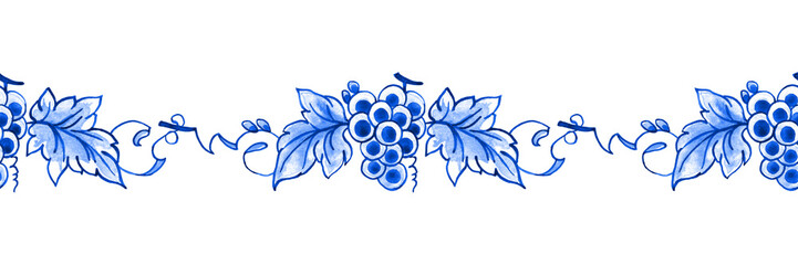 Delft blue style watercolour seamless border. Traditional Dutch floral tiled motif, grapes and vines, cobalt on white background. Wallpaper. Textile print.