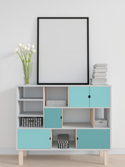 Blank photo frame for mockup on the cabinet in white room, 3D rendering
