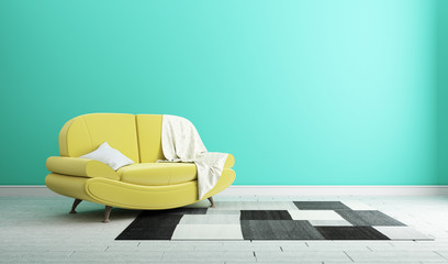 Design concept yellow sofa on mint wall modern interior .3d rendering