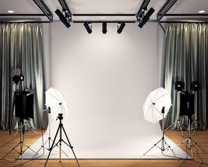 Studio BIg - Modern Film Studio with white Screen. 3D rendering