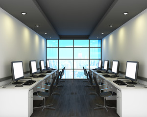 Office in modern style on wooden floor, city view. 3D Rendering