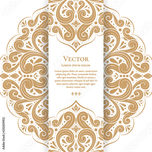 White invitation card with golden leaves ornament great white card white invitation card with golden leaves ornament great white card for invitation flyer stopboris Image collections