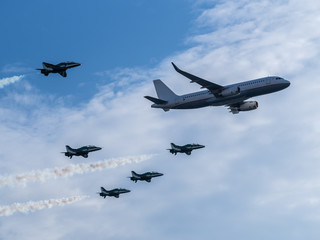 Airplanes in formation during an airshow
