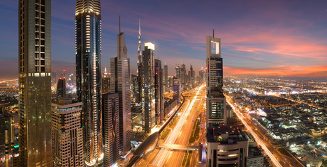 Beautiful panorama from Dubai Downtown