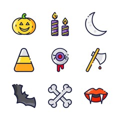 halloween icon.black design color set