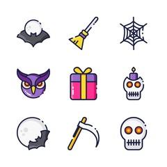 halloween icon.black design color set
