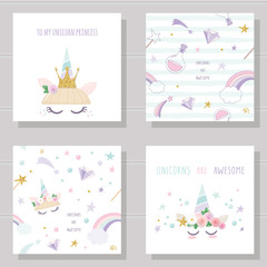 Unicorn cute cards and seamless patterns set.