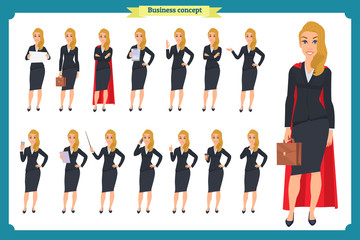 Set of young businesswoman presenting in different poses.People character. Standing, Woman body template for design, presentations work.Isolated on white. Flat style.business
