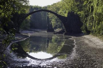 Fairytale Devil's Bridge, Perfect Circle Water Reflection, Germany, Springtime
