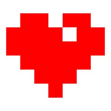 Red heart in pixel art style