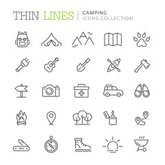 Collection of camping thin line icons