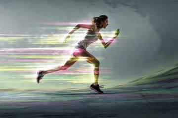 Läuferin mit surrealen Lichteffekten