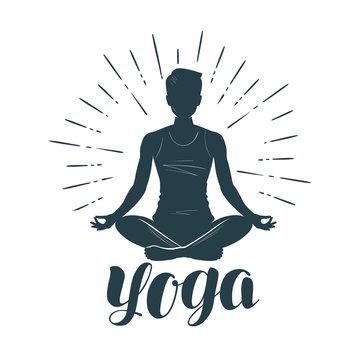 Yoga logo or label. Fitness, meditation symbol. Vector illustration