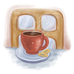 Red cup with a hot tea in front of a small wooden window winter illustration