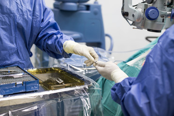 Close up hand of Male and female surgeons operate the machinery. Medical and Healthcare concept.