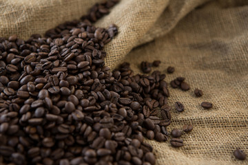 Roasted coffee beans on sack