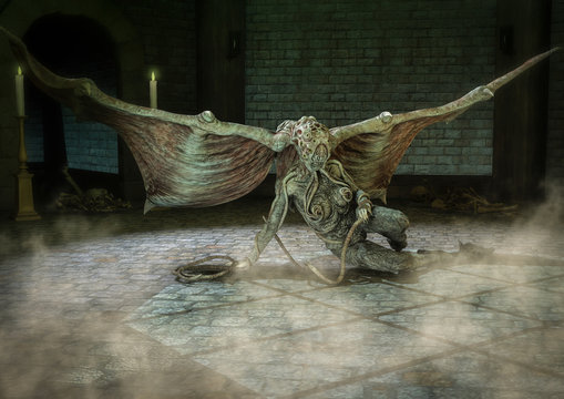 Female Cthulhu like monster sitting in a dungeon.